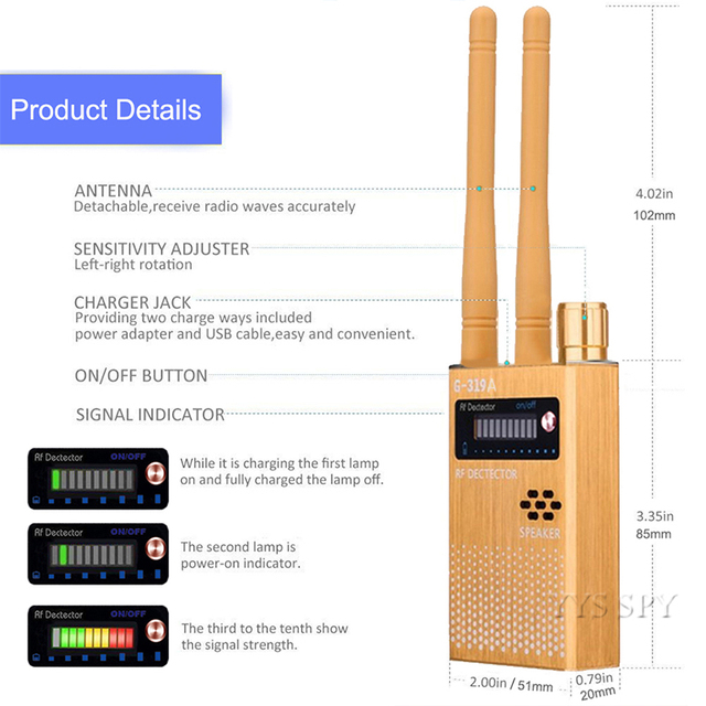 Dual Antenna RF Signal Anti Spy Hidden Camera Anti Candid Camera Detector Eavesdropping Pinhole Audio Bug GPS GSM Device Finder 2