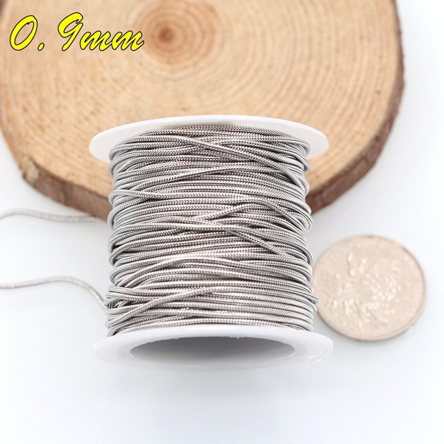 2 meters 316L Stainless Steel 0.9 1.2 1.5mm Silver Tone Hypoallergenic Snake Bulk Chain for DIY Bracelets Jewelry Making Finding