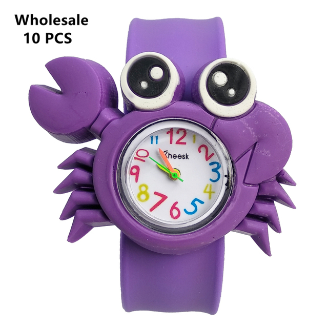 (Wholesale 10 pcs) 3D Crab Cartoon Kids Watches Lovely Silicone Band Slap Quartz Watch Casual Children Clock Baby Christmas Gift