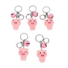1 шт. Корея милый розовый брелок с дизайном «Поросёнок» брелок для женщин Девушка колокольчик животное сумка милый брелок Брелоки для автомобилей ювелирные изделия подарок