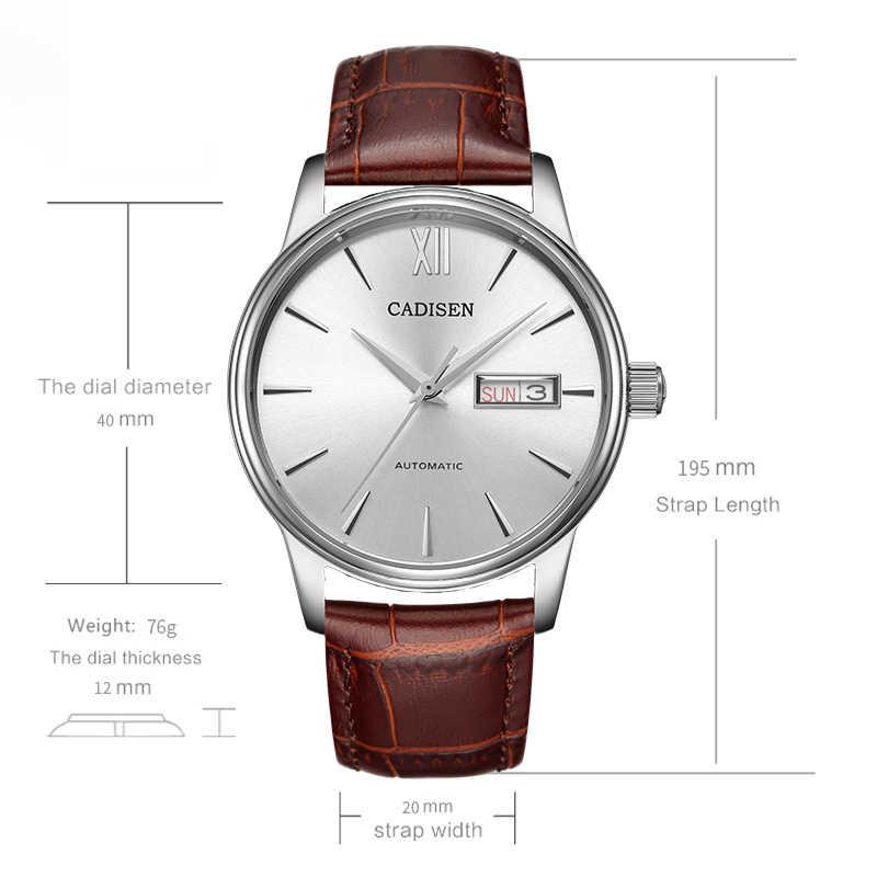 CADISEN الرجال الساعات التلقائي الذاتي الميكانيكية حزام جلد طبيعي الأصلي المحرز في اليابان HN36A حركة ساعة معصم مقاوم للماء