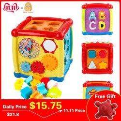 Brinquedos musicais multifuncional caixa do bebê da criança música brinquedos eletrônicos engrenagem relógio geométrico blocos de classificação brinquedos educativos