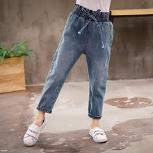 Ripped Jeans for Kids 2019 Girls Jeans Spring Soft Denim Pants Toddler Children Casual Trousers Solid Toddler Girls Clothes цены онлайн