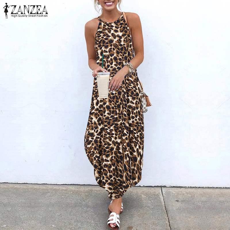 ZANZEA Women Dress 2019 Summer Sexy Strap Sleeveless Leopard Print Sundress Female Casual Loose Party Vestido Plus Size Dresses