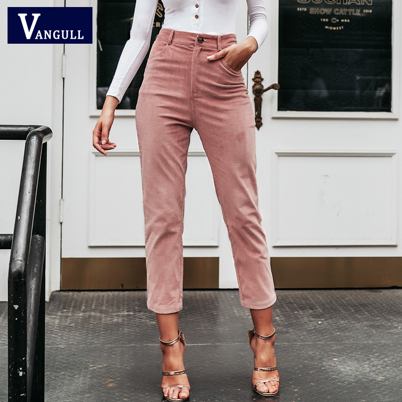 Vangull Casual Fashion Women Ninth Pants Vintage High Waist Corduroy Pencil Pants Autumn Winter Streetwear Female Solid Pants