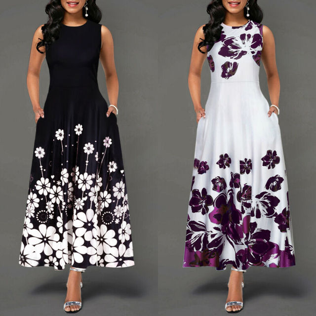 Sleeveless Floral Printed Elegant Summer Beach Maxi Dress 4