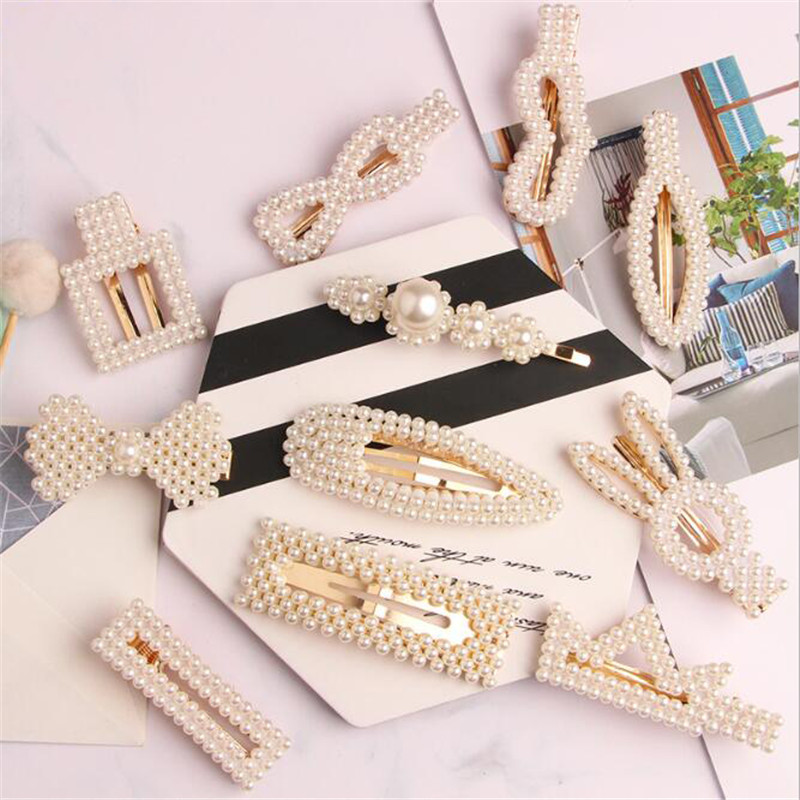 Women Pearl Hair Clip Beaded Geometric Korea Barrettes Hairgrips Hair Accessories Girls Jewelry Fashion Hair Pins   headwear