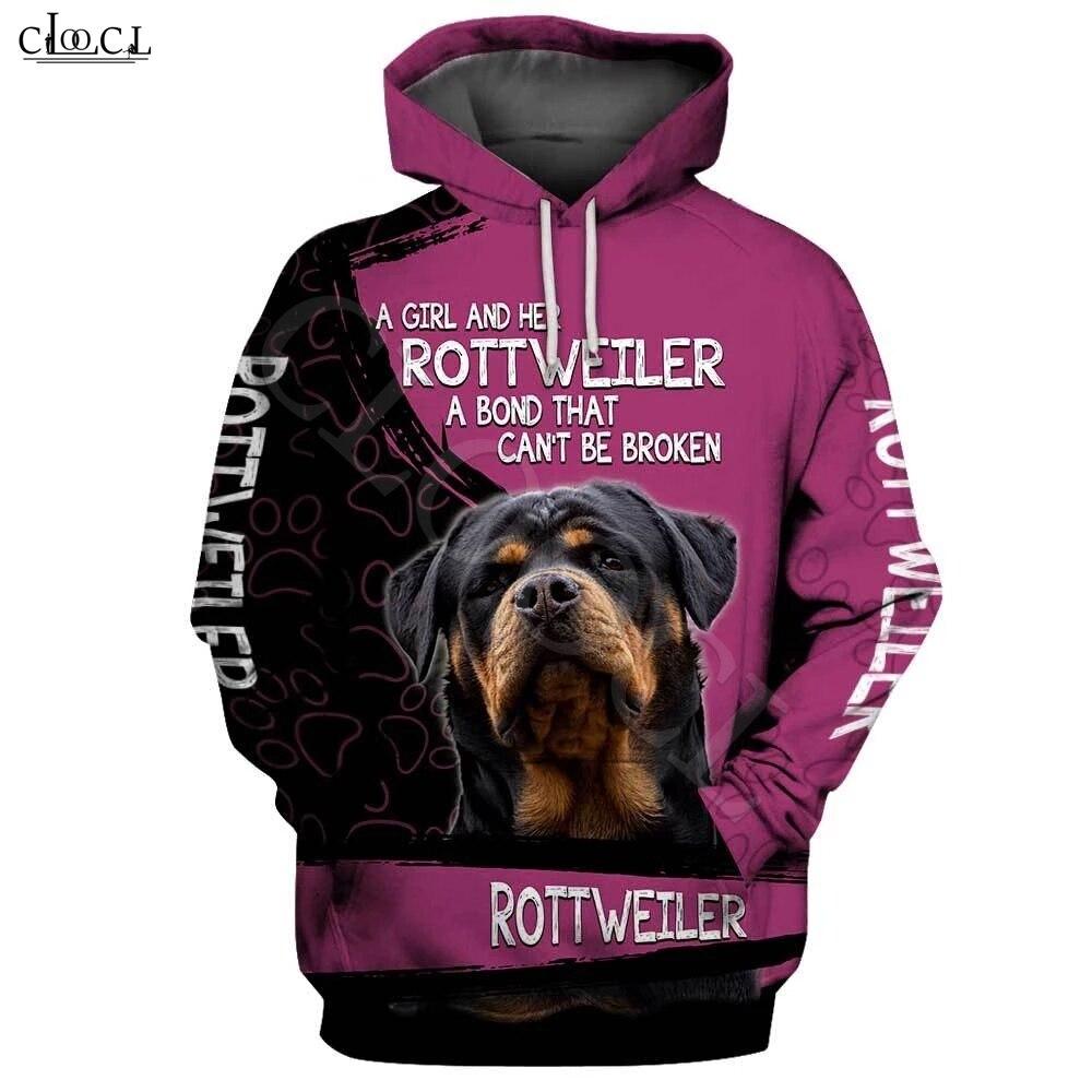 2020 Fashion A Girl And Her Rottweiler Dog 3D Print Hoodie Men Women Sweatshirt Casual Pet Dog Designs Hooded Coat Drop Shipping
