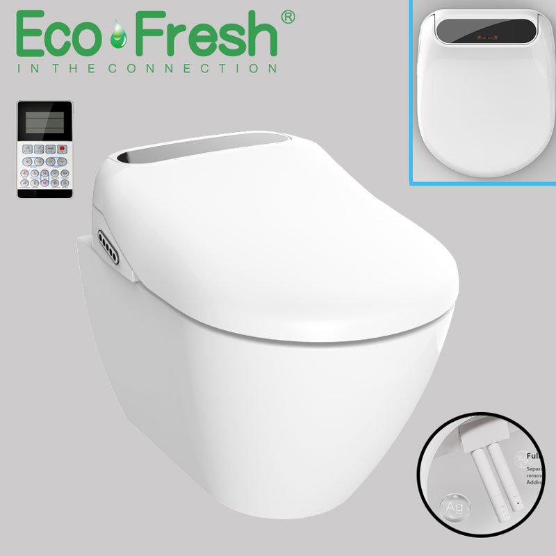 Ecofresh LED Wc Lighted Smart Elongated U Toilet Seat Electric Bidet Cover Heated Led Light Wash Dry Massage Woman Children Old