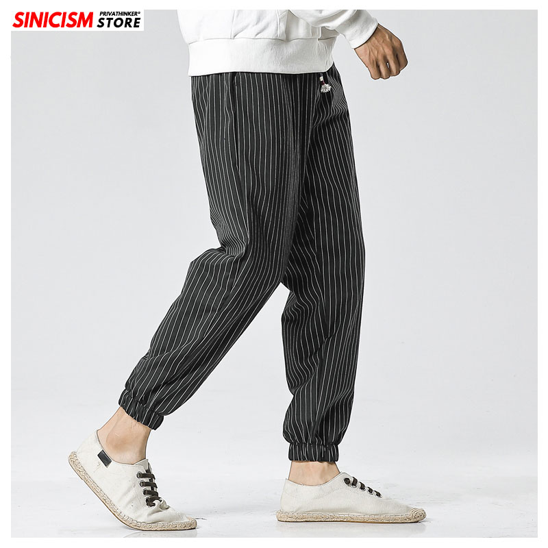 Sinicism Store Autumn Fashion Striped Casual Harem Pants Men 2020 Oversize Japan Style Loose Trousers Male Cotton Men's 5XL Pant