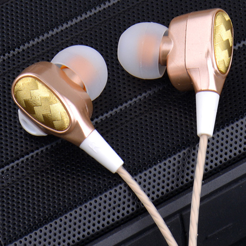 Double Moving Coil Headphones In-ear Universal Handphone Bass Quad-core Stereo Sound Insulation Noise Reduction K Song Earplug F