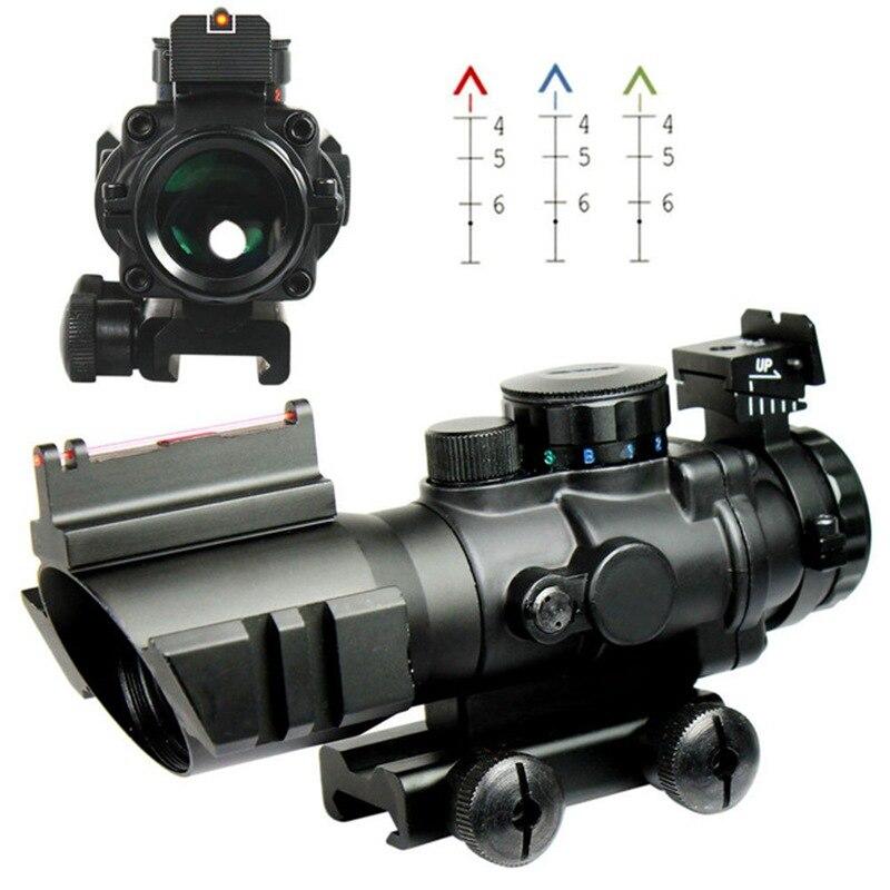 4x riflescope optica scope com visao de fibra optica vermelha para a caca arma rifle airsoft
