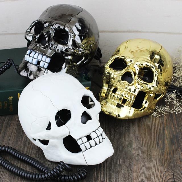 Проводной мини телефон креативный череп голова призрак телефон, глаза со светодиодной мигающей светильник кой, аудио/импульсный набор, украшение для дома