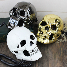 Mini Corded Phone Creative Skull Head Ghost Telephone, Eyes with LED Flashing Light, Audio / Pulse Dialing, Decoration for Home