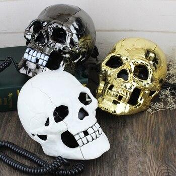 Mini Corded Phone Creative Skull Head Ghost Telephone, Eyes with LED Flashing Light, Audio / Pulse Dialing, Decoration f
