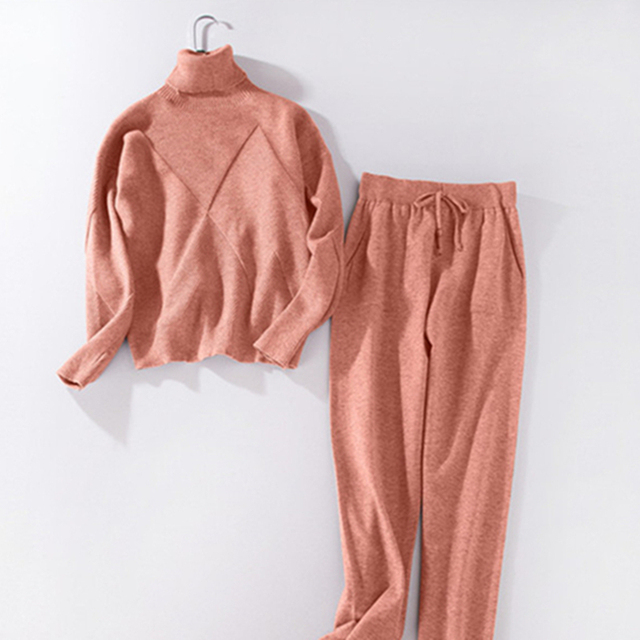MVGIRLRU Woman Sweater Suits Casual  Knit Tracksuit Turtleneck Pullovers+pants Two Piece Sets Female Outfits 4
