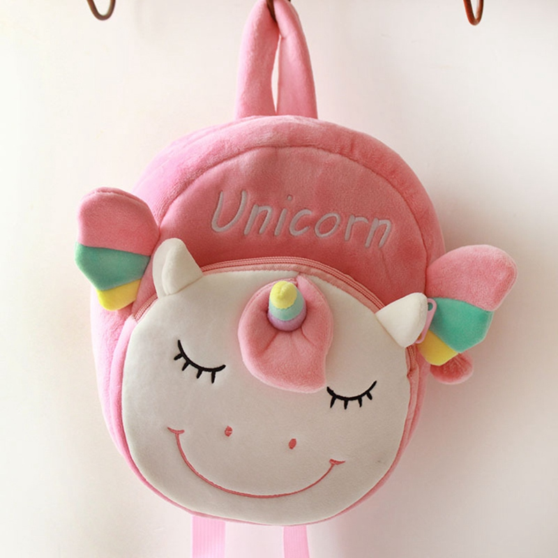 Kids Girls Fluffy Unicorn Backpack Plush School Rucksack Zipper Shoulder Bag