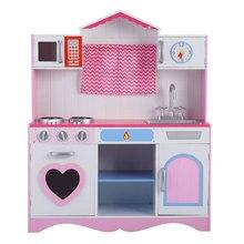 Деревянный игровой домик для девочек, детские игрушки, кухонные принадлежности, большой набор моделей