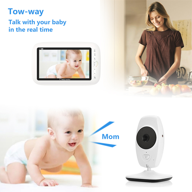 LOOZYKIT Color LCD Baby Monitor Wireless Digital Video Display Two-Way Voice intercom Night Vision Temperature Sensing Lullaby 2
