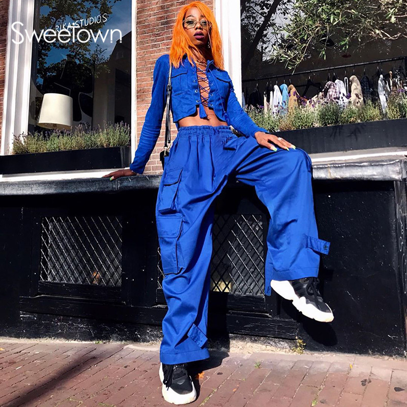 Sweetown Black Baggy Wide Leg Cargo Pants Women Casual Plus Size Streetwear Outfits Big Pockets Elastic Waist Hippie Pants Blue