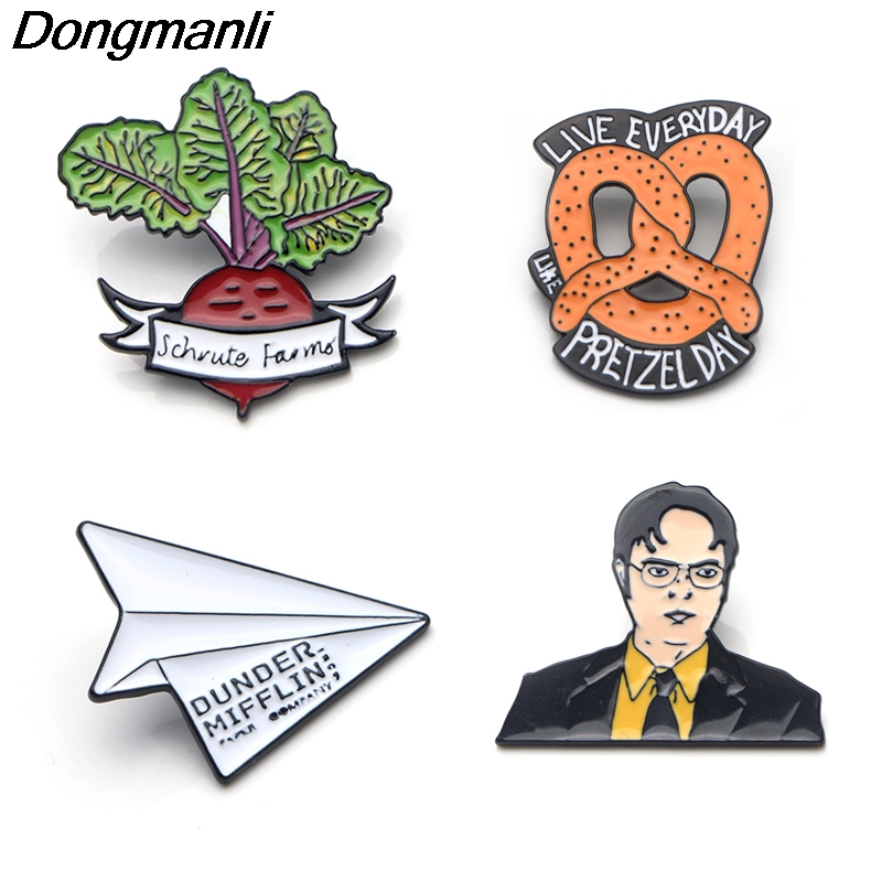 P3557 Dongmanli The Office TV Show Dunder Mifflin Metal Enamel Pins and Brooches for Fashion Lapel Pin Backpack Bags Badge Gifts