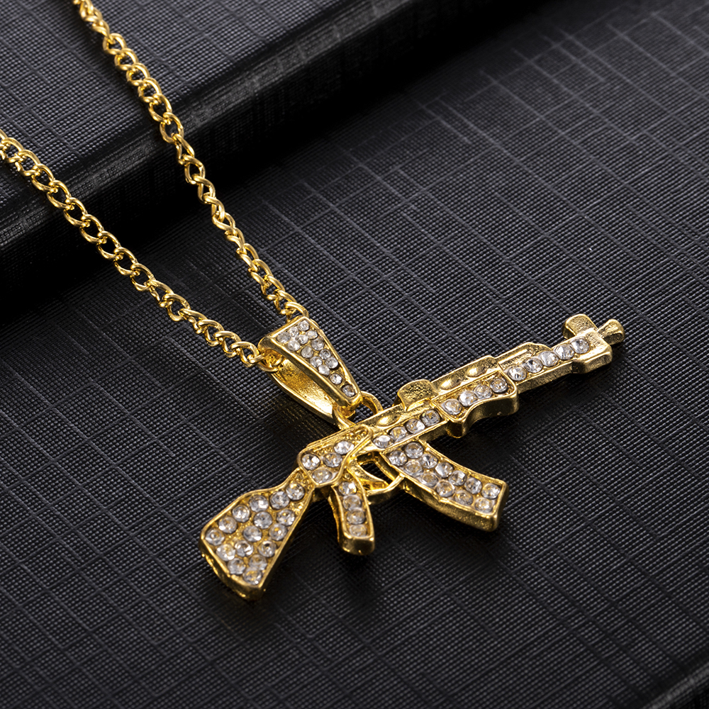 Stylish Pendant Crystal Rhinestone Chain Gun Necklace - Kito City Jewelry