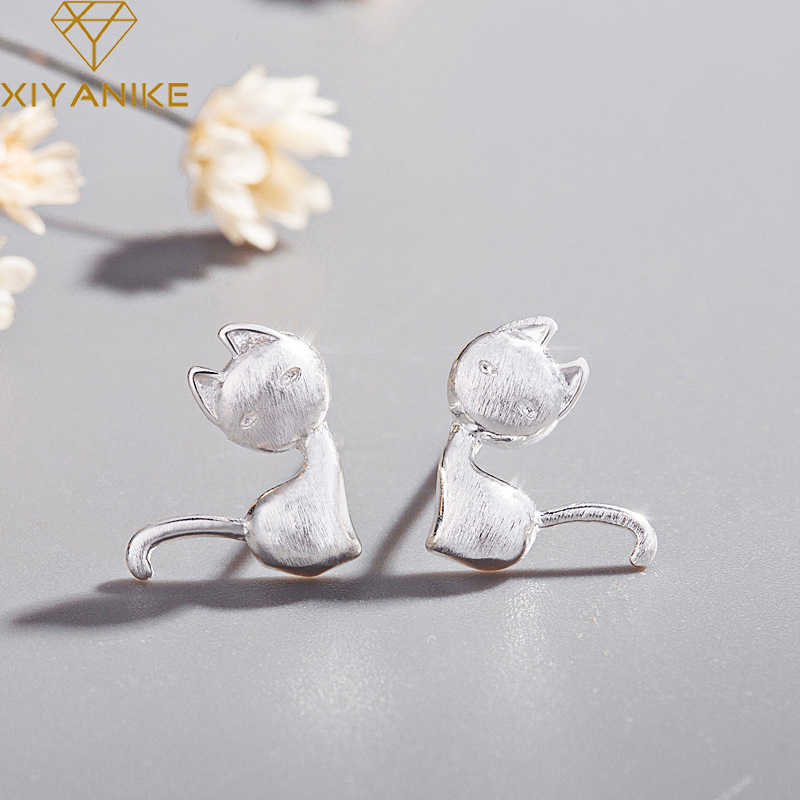 XIYANIKE 925 Sterling Silver Prevent allergy Stud Earrings New Fashion Cute Glossy Cat Small Simple Ear Hoops Animal Jewelry