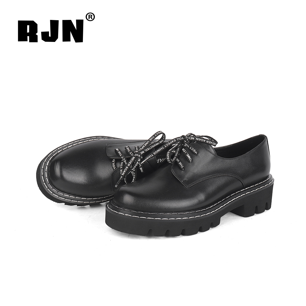 Promo RJN Comfortable Women Pumps Strange Shoelace Sewing High Quality Genuine Leather Round Toe Square Heel Shoes Lace-Up Pumps R36