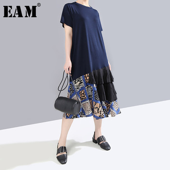 [EAM] Women Pattern Printed Ruffles Temperament Dress New Round Neck Short Sleeve Loose Fit Fashion Spring Summer 2020 1T347