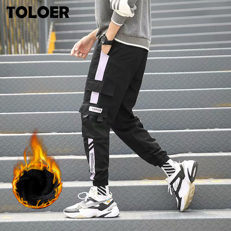 Men''s Side Pockets Cargo Harem Pants 2020 Ribbons Black Hip Hop Casual Male Joggers Trousers Fashion Casual Streetwear Pants 5XL
