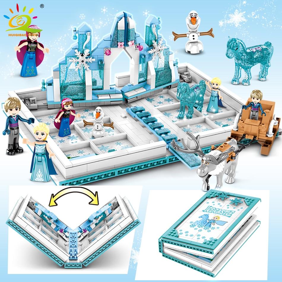 HUIQIBAO 575Pcs Snow Queen Magic Book Building Blocks Toys Girl Friends Palace Ice Castle Princess Elsa Anna Figures Bricks Kids