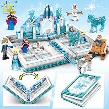 HUIQIBAO 575Pcs Snow Queen Magic Bookอาคารบล็อกของเล่นเด็กผู้หญิงเพื่อนPalaceปราสาทน้ำแข็งเจ้าหญิงFiguresอิฐของขวัญเด็กของเล่น