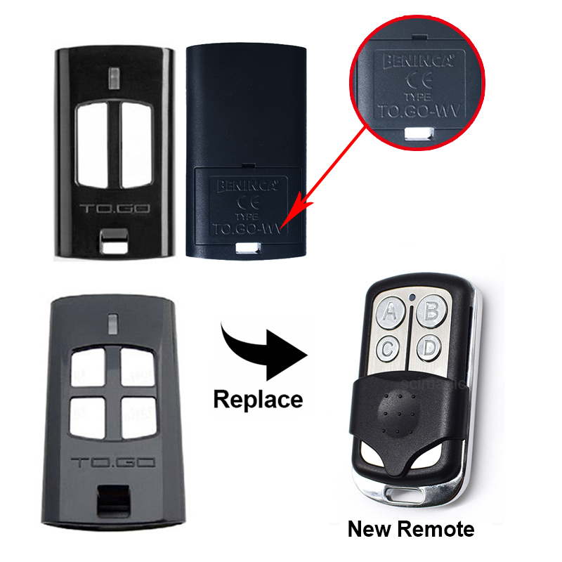 Beninca TO.GO 2WV / 4WV garagedeur afstandsbediening Beninca rolling code 433mhz zender gate control
