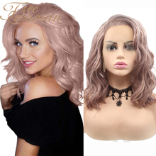 Synthetic Wigs Rose-Gold Lace-Front Pink Short Heat-Resistant Women Bob for with Side-Part