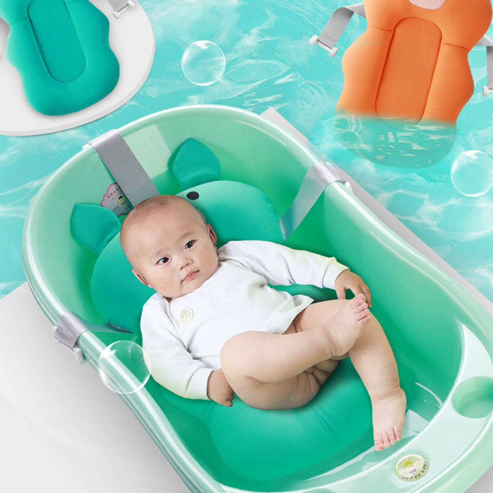 Newborn Baby Shower Safety Bath Seat Pillow Security Portable Air Cushion Bed Babies Infant Baby Bath Pad Non-Slip Bathtub Mat