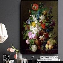Flor do vintage pintura a óleo da lona flores botânicas posters e impressões cuadros arte da parede imagem para sala de estar decoração casa