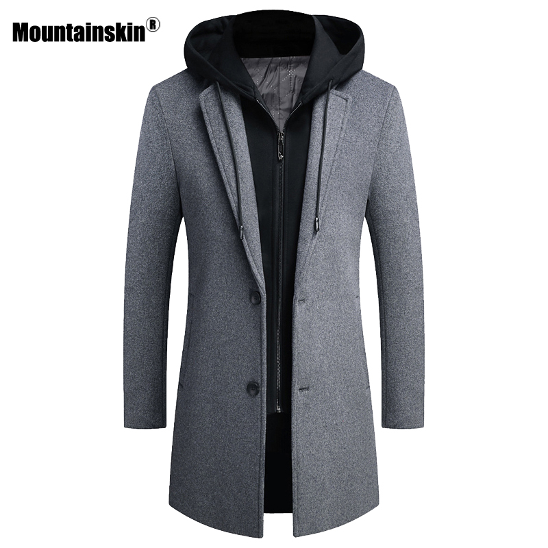 Mountainskin 2020 Men's Hooded Wool Jacket Winter Autumn Mens Long Windproof Wool Coat Casual Thick Slim Fit Jacket Male SA951