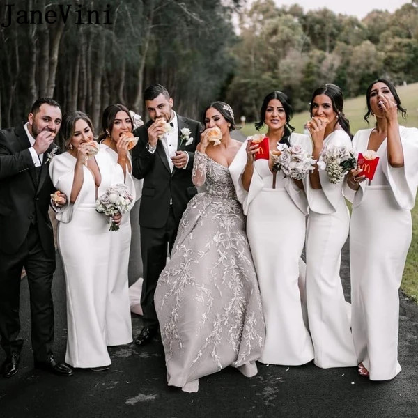 JaneVini Bridesmaid Robes White Satin Mermaid Long Bridesmaid Dresses with Half Sleeves Plus Size Sexy Deep V-neck Backless Slit