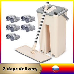 Flat Squeeze Mop Lazy Mop with Bucket Wringing Floor Cleaning Mop Hand Free Microfiber Mop Pads
