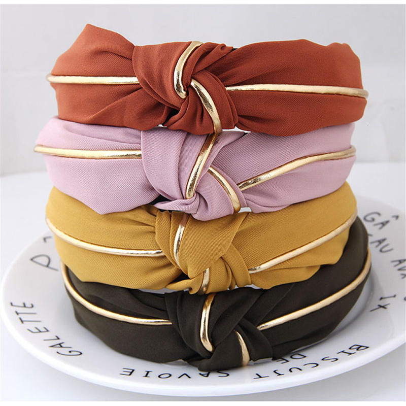 Fashion Solid Color Hair Bands For Women Jewelry Cross Knot Wide Gold Side Bow Headband Girl Sport Face Wash Hairband Wholesale