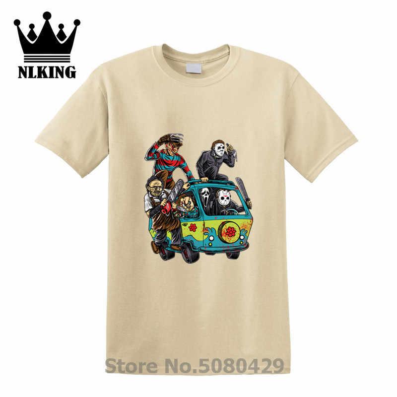 Mesin Harajuku Streetwear Pria T Shirt Pembantaian Bus Jason Gergaji Mesin Scream Freddy Krueger Halloween 100% Katun Atasan