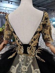Image 4 - BGW 3222ht Черное вечернее платье длинное для женщин с круглым вырезом и v образным вырезом сзади Золотое кружевное нарядное платье со съемным шлейфом 2020