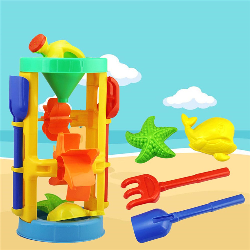 6 Pcs Kids Shower Bath Toys Play Sand Water Dredging Tool Suit Educational Baby Hourglass Windmill For Swimming Toy