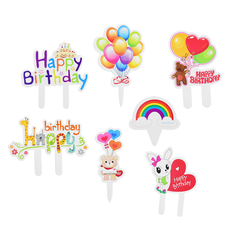 50pcs Happy Birthday Cake Topper Cartoon Design Cupcake Topper For Kids Birthday Party Baby Shower Decoration Baking Decor Tools