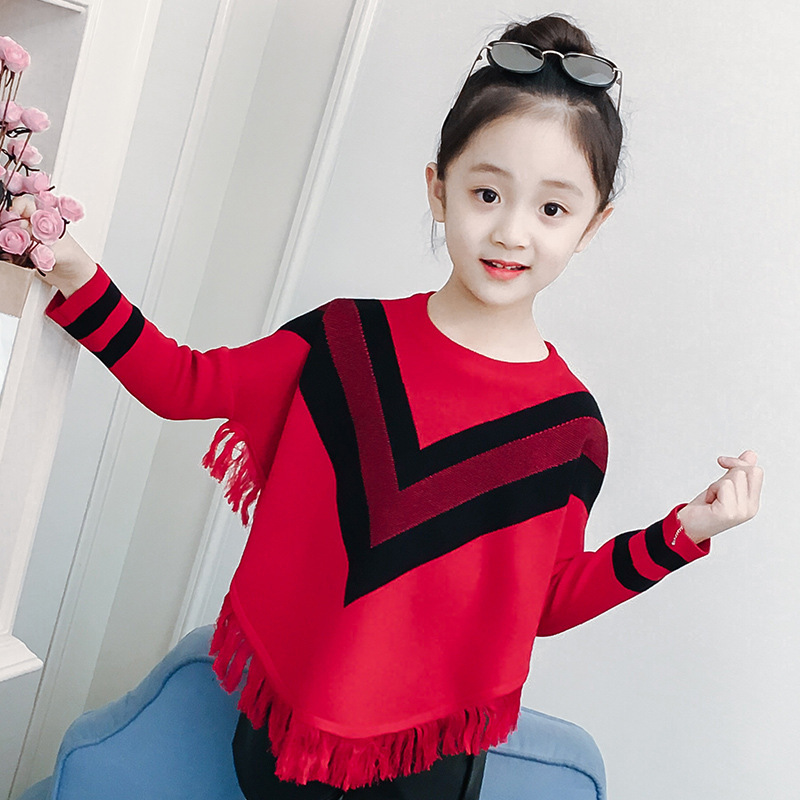 Girls Autumn Clothing 2018 New Style Baby Girls Lettered Tassels Sweater Girls Bottoming Shirts Bat Sleeve Sweater
