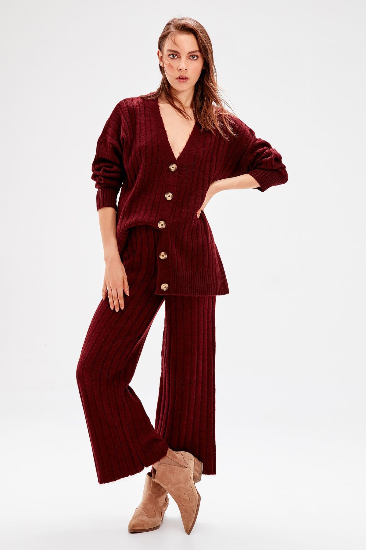 Trendyol Burgundy Ribbed Sweater Pants TWOAW20ZA0036