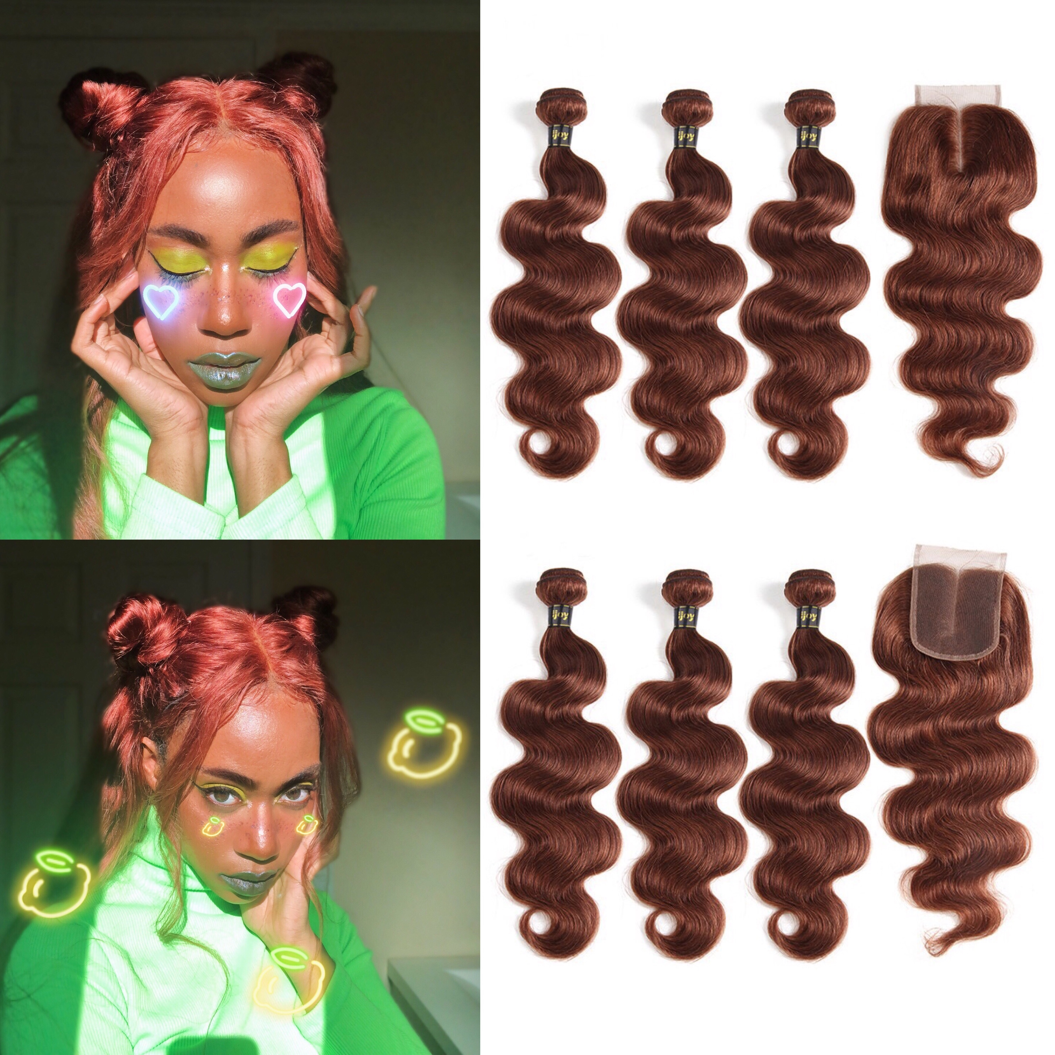 Colored Bundles With Closure #33 Copper Bundles 4x4 Red Body Wave Human Hair 8-26inch Brazilian Hair Weave Bundles Non-Remy IJOY
