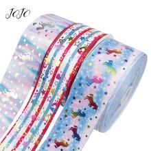 JOJO BOWS 75mm 2y Grosgrain Ribbon Printed Bronzing Unicorn Heart Star Stripe Webbing Materials For Sewing DIY Hair Bows Decor