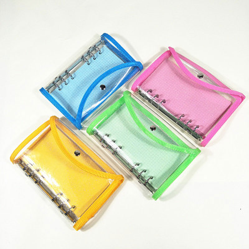 2020 Original A6 Pink Blue Green Yellow PVC Transparent Loose leaf Binder Notebook Cover Diary Planner Schedule Stationery image