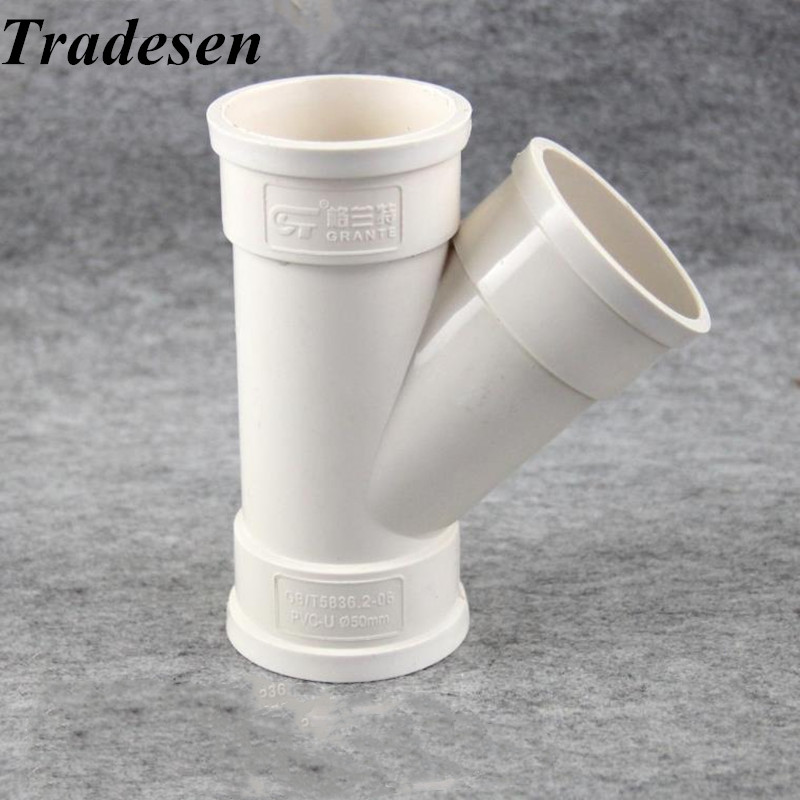 1pcs PVC White Inner Diameter 50 75  110 160mm Drain Pipe Inclined Tee 45 Degree Tee Y TypeTee Drain Pipe Fittings Tee Joint